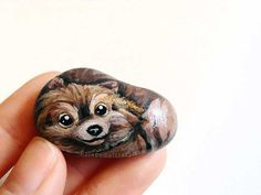 Pomeranian Portrait Painted Rock Art Pet by rainbowofcrazy on Etsy