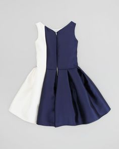 Vertical Colorblock Party Dress, Navy/Cream, Sizes 8-10 Toddler Girl Dresses, Toddler Outfits, Kids Outfits, Girls Dresses, Kids Gown, Blog Couture, Baby Dress Patterns, Dress Stand, Kids Frocks