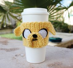 Jake the Dog Inspired Coffee Travel Cup Cozy: Adventure Time -ish Eco - Friendly Crochet Knit Sleeve. $20.00, via Etsy.