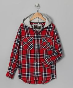 Take a look at this Red Plaid Flannel Milton Shirt Jacket - Boys by UNIONBAY on #zulily today!