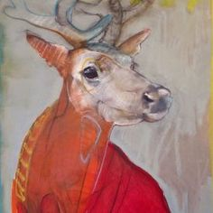 Awakening by Rebecca Haines Abstract Animals, Watercolor Animals, Art And Illustration, Painting Inspiration, Art Inspo, Figurative Kunst, Deer Art, Wildlife Art, Wildlife Paintings
