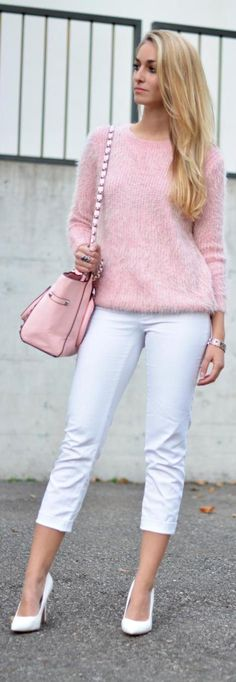 Pink fluffy sweater for fall- and white jeans DO go well in any season...