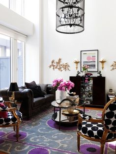 Love the black and white and hot pink -  Rock-and-Roll Glam   Home Design   Washingtonian