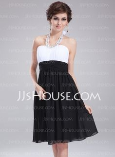 Homecoming Dresses - $106.99 - Empire Halter Knee-Length Chiffon Homecoming Dress With Ruffle Beading (022010547) http://jjshouse.com/Empire-Halter-Knee-Length-Chiffon-Homecoming-Dress-With-Ruffle-Beading-022010547-g10547