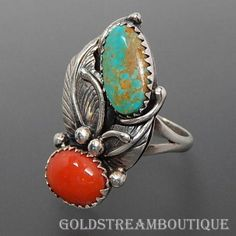 NATIVE AMERICAN NAVAJO STERLING SILVER GREENISH TURQUOISE & CORAL LEAF FOLIAGE SOUTHWESTERN RING SIZE 7