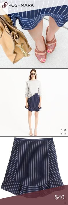 """J.Crew Navy and White ruffle skirt Lovely J.Crew navy and white striped skirt with flipped ruffle. Excellent condition. Size 2. Machine washable.  Waist: 28"""" Length: 17"""" J. Crew Skirts"""