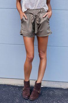 Olive Tie Waist Shorts - Dottie Couture Boutique