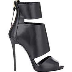 Giuseppe Zanotti Leather Cutout Ankle Boots at Barneys Warehouse Black Heel Boots, Black Ankle Booties, Black High Heels, Black Leather Boots, High Heels Stilettos, High Heel Boots, Bootie Boots, Leather Booties, Heeled Boots