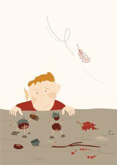 poster, plakat, jesień, autumn, boy, liście, ludziki z kasztanów, mioduszewska, illustration,