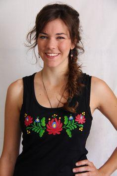 HAND PAINTED hungarian folk art sleeveless top by LiliFolkShop