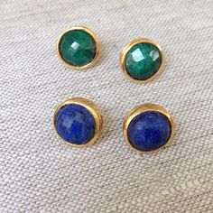 Studs always match! Shown in lapis and emerald!