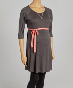 Another great find on #zulily! Charcoal & Coral Maternity Crewneck Tunic & Belt by Can't Wait Maternity #zulilyfinds