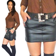 HOLA VINTAGE 90s grunge black leather look mini skirt by HolaVintageShop, $39.00