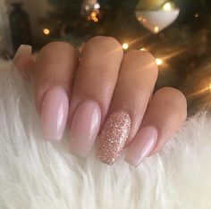French Fade With Nude And White Ombre Acrylic Nails Coffin Nails French Ombre Nails with Gold Glitter;French Ombre Nails with Gold Glitter; Pink Acrylic Nails, Almond Acrylic Nails, Gold Nails, Acrylic Nail Designs, Fun Nails, Gold Glitter, Acrillic Nails, Baby Pink Nails With Glitter, Glitter Acrylics