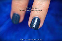 Gelish Midnight Starry Sky Blue custom mixed colour nails by www.funkyfingersfactory.com