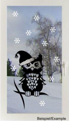 Weihnachtseule - Zweifarbig - Fenster-Tattoo Set von DOON Germany auf DaWanda.com