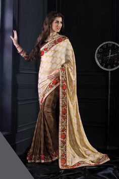 Buy Cream and Brown Jacquard Silk Designer Saree Online in low price at Variation. Huge collection of Designer Sarees for Wedding. #designer #designersarees #sarees #onlineshopping #latest #lowprice #variation. To see more - https://www.variationfashion.com/collections/designer-sarees