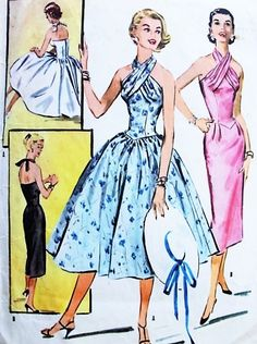 1950s SIZZLING Evening Cocktail Party Dress Pattern McCALLS 3644 Slim or Full Skirt Twisted Halter Neckline Bust 30 Vintage Sewing Pattern