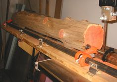 Log Milling Sled - Homemade log milling sled for a bandsaw utilizing a Jorgensen pipe clamp and intended to ride in the saw's miter slot on a runner of 1 Woodworking Techniques, Woodworking Jigs, Woodworking Projects, Bandsaw Projects, Wood Projects, Diy Bandsaw, Timber Framing Tools, Woodshop Tools, Wood Mill