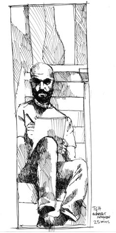 #portraitnovember #thedailysketch 25 min ink sketch self portrait using a tall mirror looking from the stairs.