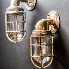 Truly stunning, tradtional, solid and heavy wall lights. Cast from original ships lights. Wall Lights, Cage Wall Lights, Sconce Lighting, Glass Cages, Wall Sconce Lighting, Exterior Door Colors, Lighting, Lights, Exterior Lighting
