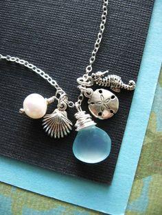 Sea Treasures Necklace, Seahorse, Ocean, Beach, Sterling Silver, Shell Necklace, Aqua, Shell Jewelry. $34.00, via Etsy.
