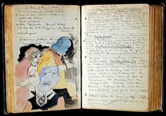 This image from Henry Miller's Paris Notebooks is what is fueling my creative focus lately. Created during the years he documented everything… Sketch Journal, Artist Journal, Artist Sketchbook, Art Journal Pages, Henry Miller, Typed Notes, Collages, Commonplace Book, Beautiful Notebooks