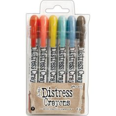 Ranger - Tim Holtz Distress Crayons Set Crayons are formulated to achieve vibrant coloring effects on porous surfaces for mixed-media.