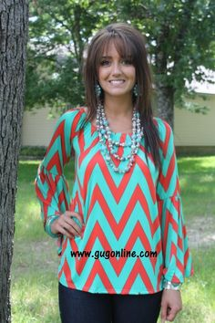 I'm Coming Home To You Mint and Coral Chevron Top- NOW IN PLUS SIZE www.gugonline.com $29.95
