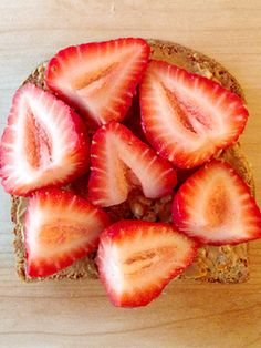 Start Tomorrow Right With 4 Energy-Filled Breakfast Ideas #Refinery29- strawberries and peanut butter