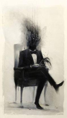 Image result for dark atmospheric figurative illustration, man in suit, shadow