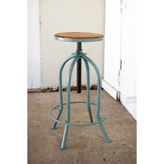 Kalalou Industrial Blue Finished Adjustable Bar Stool, One Size Bar Furniture For Sale, Luxury Home Furniture, Furniture Ideas, Dining Room Chairs Ikea, Bar Chairs, Leather Chair With Ottoman, Adjustable Bar Stools, Restaurant, Wood Bars
