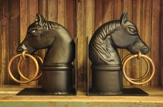 A regal set of Horse Head Bookends that will add a touch of the French Quarter your home, office or living room | $150 each | http://www.bevolo.com/finishing-touches | #nola #gifts |