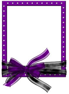 Purple Frame with Ribbon | Purple PNG Photo Frame with Black and Purple Bow