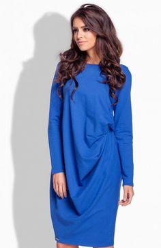 Lemoniade L166 sukienka chabrowa Komfortowa sukienka, luźny fason ukryje niedoskonałości sylwetki, z przodu piękne drapowanie Cold Shoulder Dress, Tunic Tops, Dresses, Women, Fashion, Vestidos, Moda, Women's, Fashion Styles