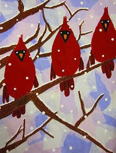 Bleeding tissue paper for the background, brown pastel for the branches, and paint for the cardinals.