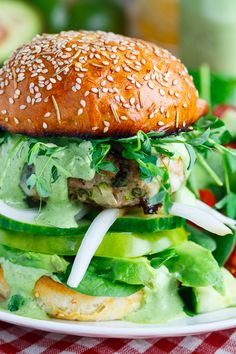 """Green Goddess Zucchini Turkey Burger Omit non-compliant ingredients and you still have a delicious """"deconstructed"""" burger!"""
