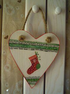 cuore Natale in legno