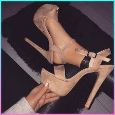 platform nude heels / ankle strap / women's beige summer shoes from Quanticlo Platform High Heels, High Heel Boots, Heeled Boots, Shoe Boots, Shoes Heels, Dress Shoes, Fancy Shoes, Pretty Shoes, Me Too Shoes