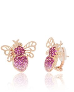 Nature, Bumble Bee, Ruby, Pink Sapphire, Rose Gold Earrings, 18K, comfort clasp, diamonds, insects, bugs,