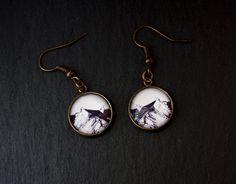 Ohrringe mit gezeichnetem Motiv, Berge, Alpen von Artouche auf DaWanda.com