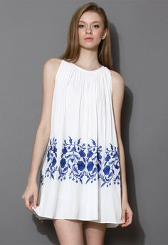 Ethereal Relaxed Embroidered Dress in White - Dress - Retro, Indie and Unique Fashion
