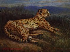"""""""Cheetah in Pastel"""" - Original Fine Art for Sale - © Sue Deutscher"""