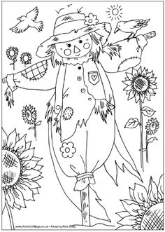 Scarecrow coloring page…reminds me of the coloring page we all got in the …,Colored pencil Malvorlagen Vogelscheuche … erinnert. Fall Coloring Pages, Halloween Coloring Pages, Adult Coloring Pages, Coloring Pages For Kids, Coloring Books, Kids Coloring, Coloring Sheets, Moldes Halloween, Autumn Art