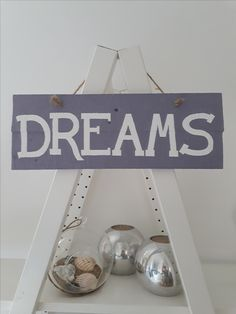 Dreams - Rustic hand made and painted wall sign. Available from Etsy The Painted Shack Store Upcycled Furniture, Painted Furniture, Wall Signs, Shabby Chic, Hand Painted, Dreams, Rustic, Store, Handmade