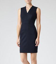 Womens Navy Textured Tailored Dress - Reiss Justine