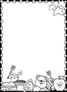 paper border drawing of teddy bear and food items Dj inkers Clip Art - ezpinita - Picasa Web Albums