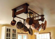 . Beautiful Kitchens, Cool Kitchens, Small Kitchen Pictures, Stained Kitchen Cabinets, Best Kitchen Designs, Kitchen Ideas, Pot Hanger, Copper Kitchen, Country Kitchen
