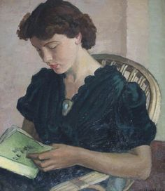 Girl reading. Vera Alabaster (Russian, 1889-1964). Oil on canvas. Harbour Cottage Gallery.