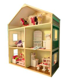 Give every 18-inch doll the most precious abode to come home to! This premium wooden dollhouse is a delightful Cape  Cod style with bright colors and a warm design. Little darlings will spend imaginative hours decorating the four multipurpose rooms and upstairs attic to perfection for their forever friend. See how it works